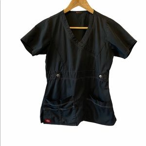 DICKIES Black Utility V Neck Fitted Pockets Top M